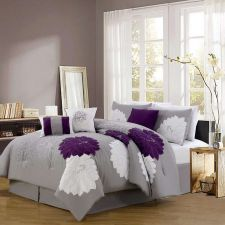 Buy QUEEN Purple Gray White 7 Pc Comforter Set Floral Embroidered Flowers Elegant