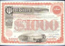 Buy New York New York City Stock Certificate Company: West Shore Railroad Comp~103