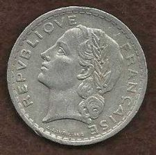 Buy FRANCE FRENCH 1945 WWII ERA 5 FRANC VINTAGE -NICE COIN !
