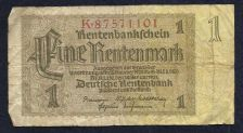 Buy Germany 1 Rentenmark 1937 Note #K87571101