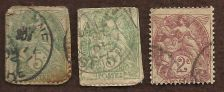 Buy FRANCE; 1877-80 classic SAGE Type II, 2 & 5c Stamps USED