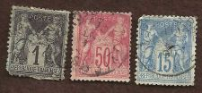 Buy FRANCE; 1877-80 classic SAGE Type II, 1c, 15c & 50c USED Peace & Commerce Issue