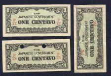 Buy Japan WWII Invasion Money Three (3) Small Note 1 Centavo P/AL P/AN & PK Crisp!