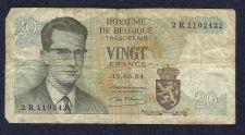 Buy Belgium 20 Francs 1964 P-138 Banknote 2 R 1102422
