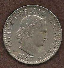 Buy Switzerland 20 Rappen 1947 B Libertas Goddess of Liberty Coin WWII Era Currency