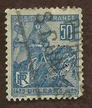 Buy 1929 France Jeanne d'Arc Joan of Arc Orleans 50c dark blue USED
