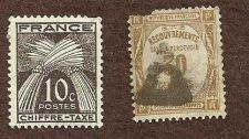 Buy FRANCE TAX STAMPS: Timbre Taxe Postage Due Chiffre 10c & FRANCE 30c Recouvrement