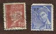 Buy France 1938-42 Ultramarine Mercury 10c & France 1941-2 Marshal Petain 1f20 Defin