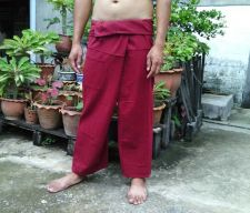 Buy Dark Blood Red Cotton Thai Fisherman Pant Peasant Wrap Yoga Trousers