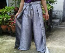 Buy Textured Thai Silk in Light Gray Wrap Pants Fisherman Sarong Harem Yoga Trousers