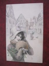 Buy M.M.VIENNE CHARMING CHRISTMAS GLAMOUR OLD POSTCARD (#107)