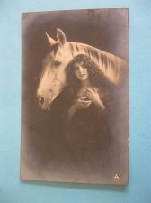 Buy DREAMY WOMAN AND HER HORSE REAL PHOTO OLD POSTCARD (#275)