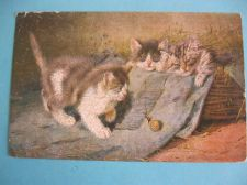 Buy CATS FASCINATED BY A SNAIL 1904 OLD POSTCARD (#278)