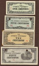 Buy Japan WWII Invasion $ Four (4) Small Note TYPE SET 1: - 1, 5, 10, & 50 Centavos