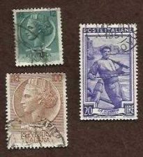 Buy ITALY SET OF 3 USED STAMPS: N1986 ITALY 20 LIRE, LIRE 20 & 12 LIRE