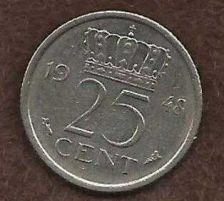 Buy Netherlands 25 Cents 1948 Queen Juliana Pre-Euro Coin