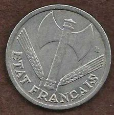 Buy France - 1 Franc 1944 Vicky French Issue WWII ERA Currency - Historic Coin!