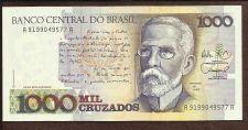 Buy BRAZIL 1 Cruzado Novo on 1000 Cruzados 1989 UNCIRCULATED Note A 9199049577A
