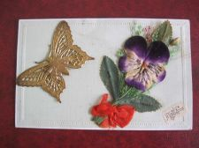Buy NOVELTY BUTTERFLY AND PANSY REAL METAL AND APPLIQUE FRENCH CIRCA 1920