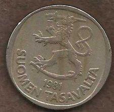 Buy Finland 1 Markka 1981 KM#49.a Rampant Lion Shield Scandinavian Coin