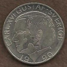 Buy Sweden 1 Kr Krona 1990 Coin Sverige Carl XVI Gustaf Nice collectable Coin