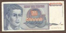 Buy YUGOSLAVIA - 500 000 DINARA - 1993 Banknote AB0527078