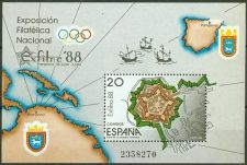 Buy Spain 1988 mnh Exfilna ´87 Maps Fortress Block