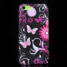Buy Butterfly And Flower Pattern TPU Rubber Gel Snap-On Case Cover For iPhone 5C