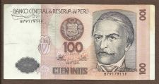 Buy 1987 Central Bank of Peru 100 Intis Note B7917911F