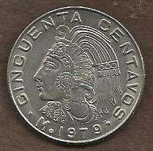 Buy Mexico Mexican 50 Centavos Cuauhtemoc Coin 1979