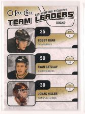 Buy 2010-11 O-Pee-Chee Team Leaders #TL1 Jonas Hiller/Bobby Ryan/Ryan Getzlaf