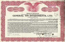 Buy General Tin Investments LTD Stock Certificate 500 Shares 1961 Certificate NYU401