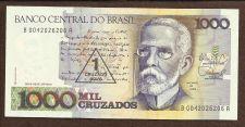 Buy BRAZIL 1 Cruzado Novo on 1000 Cruzados 1989 UNCIRCULATED Note B 0042026206A