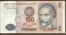 Buy 1987 Central Bank of Peru 100 Intis Note B7917915F