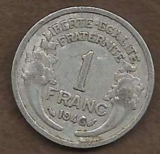 Buy France - 1 Franc 1946 Vicky French Issue WWII ERA Currency - Historic Coin!