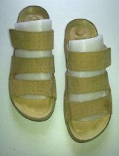 Buy Casual Slide Sandals Elena Solano -Tan LEATHER-Low, Strap adjustable-Women 7-8 M