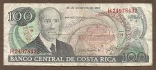Buy Costa Rica 100 Colones 1993 Banknote H24978432