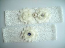 Buy Gorgeous wedding garter set includes toss and keepsake garters. It is handmade