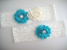 Buy Gorgeous wedding garter set includes toss and keepsake garters. It is handmade