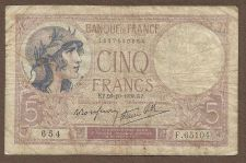 Buy FRANCE 5 Francs 1939 Note F 65104 (P83) - HISTORICAL WWII Era Currency !!!