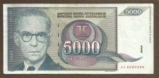 Buy Yugoslavia 5000 Dinara 1992 Banknote AE 8285089 Nobelist Andrić / Bridge RARE!