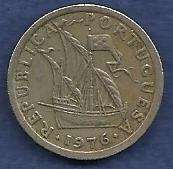 Buy Portugal 2.5 Escudo 1976 Coin -Ship - Shield flanked by Stars