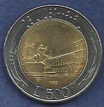 Buy Italy 500 Lire 1982 Piazza del Quirinale Braille Bi-Metallic