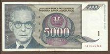 Buy Yugoslavia 5000 Dinara 1992 Banknote AD 0825419 Nobelist Andrić / Bridge RARE!