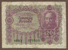 Buy Austria 20 Kronen 1922 Note 077500 Portait of Bearded Man Pick 76