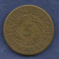 Buy Germany 5 Rentenpfennig 5 Pfennig 1924 F Weimar Republic