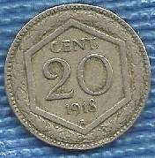 Buy Italy 1918 20 Cent D'Italia 20 Centesimi Coin 1 WWI Era Currency