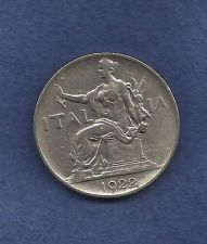 Buy ITALY 1 LIRA 1922 R COIN, Vittorio Emanuele III, SEATED LIBERTY, GREAT COIN!