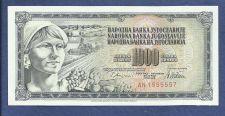 Buy Yugoslavia 1000 Dinara 1989 Banknote No AN 1555557 UNCIRCULATED!