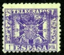 Buy Spain 1940, Yvers # 85, Tlelegraph Stamp, Used